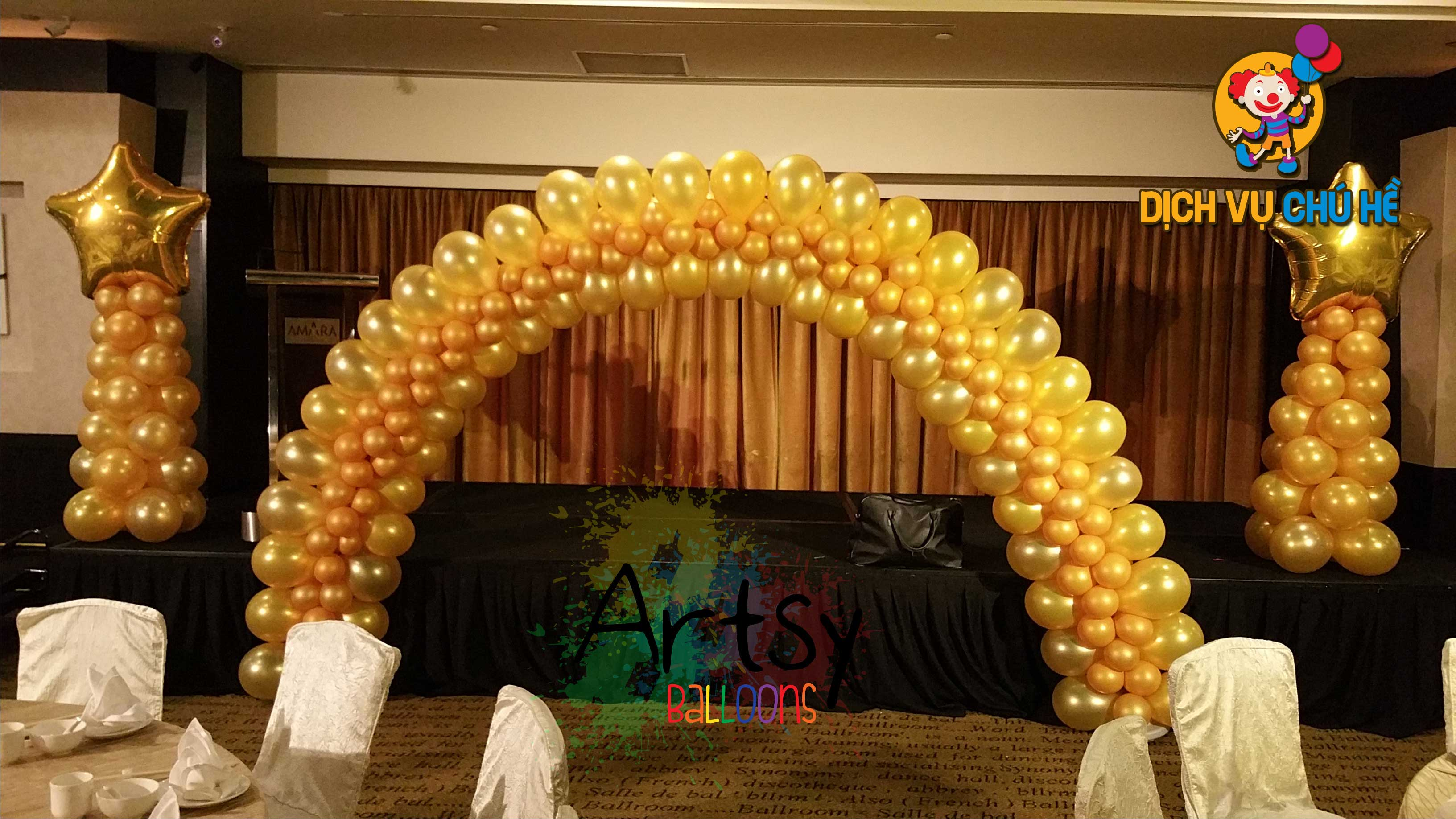 mẫu trang trí đám cưới bằng bong bóng