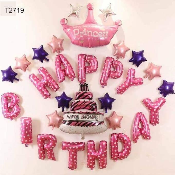 Bộ phụ kiện trang trí sinh nhật cho bé gái màu hồng